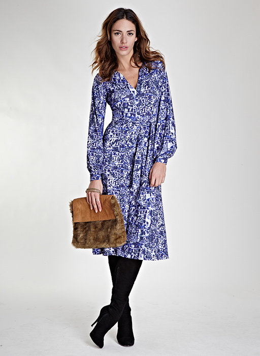 We appreciate the way they styled this Isabella Oliver's blue print dress ($124, originally $209). You can even wear it over a black turtleneck for extra warmth. Then when Spring rolls around, ditch the boots for high-heeled metallic sandals.