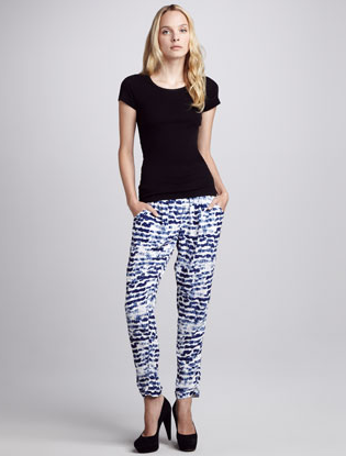 Add a little blue (and print) in your life with these Sam & Lavi printed drawstring pants ($160). Sport them with a black sweater now and a casual tank come Summer.