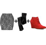 We love the idea of a printed miniskirt with black opaque tights and  punchy red booties — here's what it looks like.  Get the look:  Diane von Furstenberg printed skirt ($123, originally $245) Ralph Lauren black tights ($18) Envy red lace-up wedge bootie ($45)