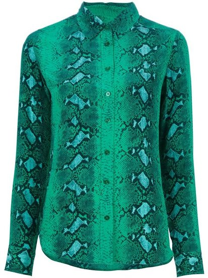 Equipment's green snake-print blouse ($321, originally $458) is a great way to dabble with prints this year because it's majorly versatile. It can go from the office to the bar with just a switch of pants. Start with trousers and end with leather or jeans.