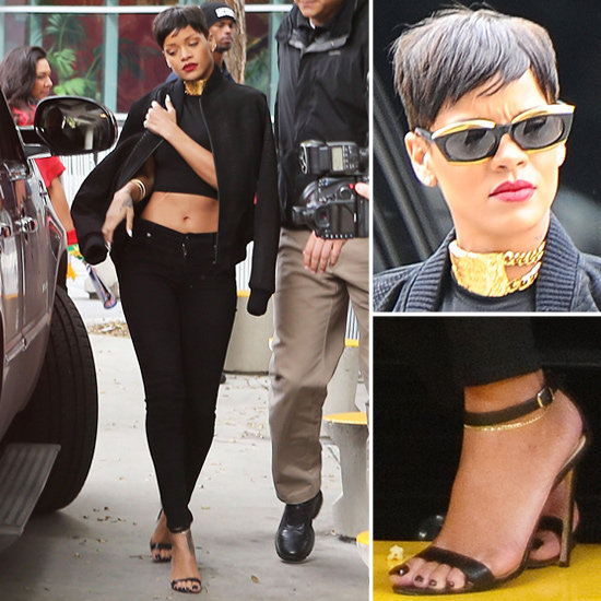 Rock an all-black ensemble like Rihanna's bold black-and-gold look.