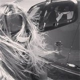 Lara Bingle and her hair battled the wind. Source: Instagram user mslbingle