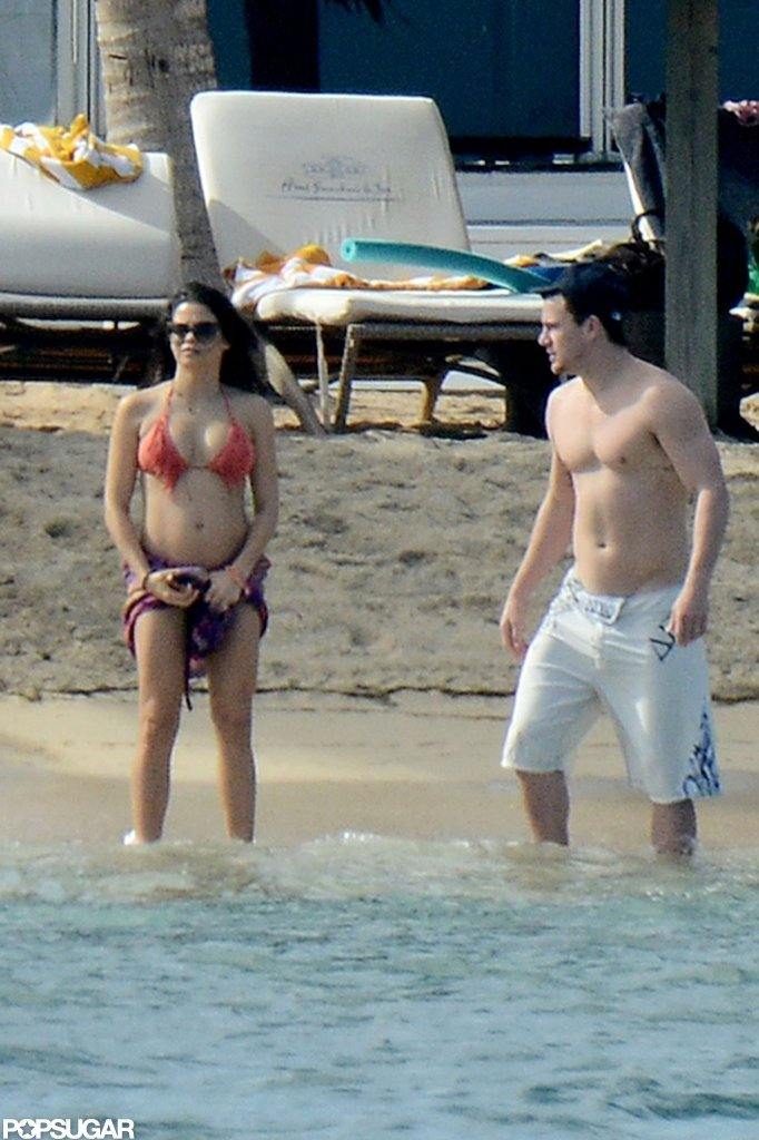 Shirtless Channing Tatum hit the beach with his pregnant wife.