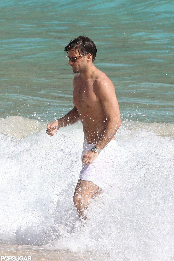 Johannes Huebl was shirtless in St. Barts.
