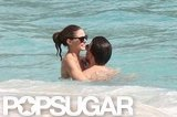 Olivia Palermo showed PDA with her boyfriend, Johannes Huebl, while in St. Barts in January.
