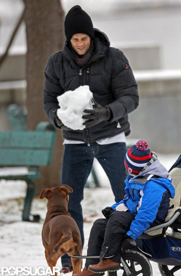 Tom Brady played with his sons at a park in Boston.