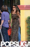 Sofia Vergara carried a bright red purse.