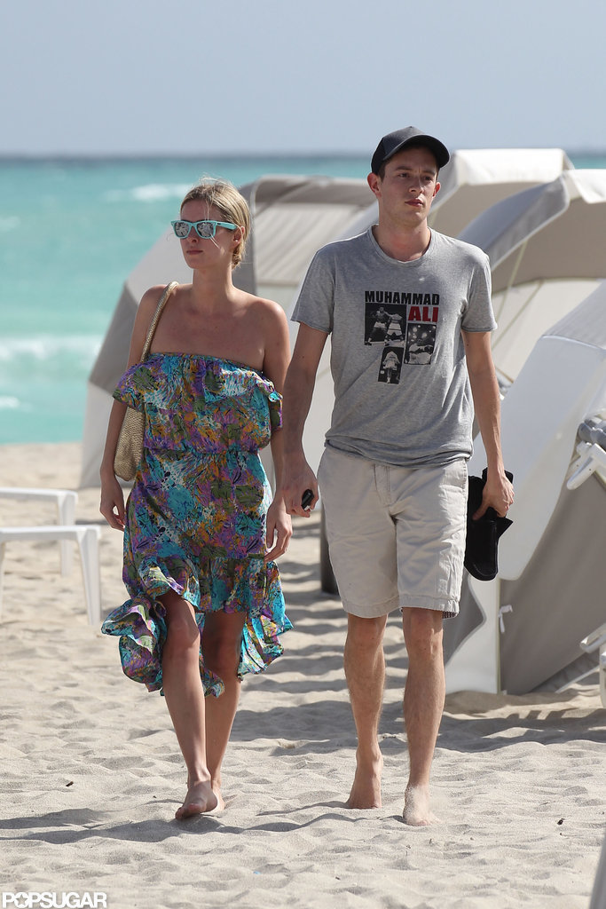 Nicky Hilton and boyfriend James Rothschild walked hand in hand out of the beach.