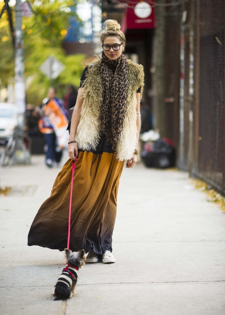 A furry vest transforms the maxi into a Winter-appropriate alternative to your pants. Source: Adam Katz Sinding