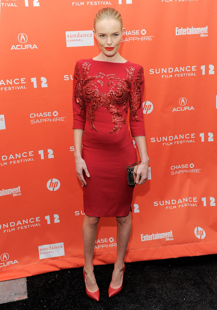 Kate showed us how to rock a monochromatic look at the Sundance Film Festival in 2012 — she wore a lacy red Antonio Berardi dress with red pointy-toe pumps and red lipstick.