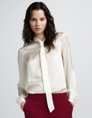 Rachel Zoe's silk tie-collar blouse ($103, originally $295) would impress in any boardroom. For a menswear-inspired look, pair it with wide-leg trousers and a matching blazer.