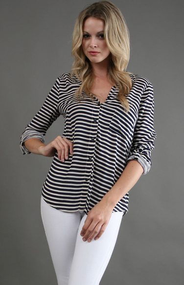 Go nautical with this Splendid striped button-down ($108). Then when Summer arrives, sport it with white jeans or shorts for a fresh feel.