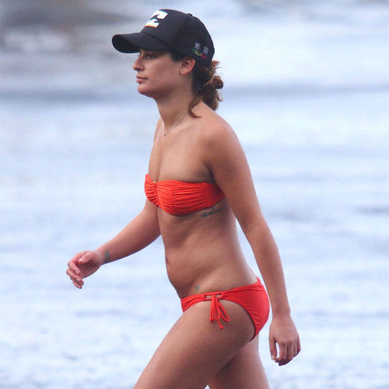 Lea Michele sported a red bikini on the beach in Hawaii.