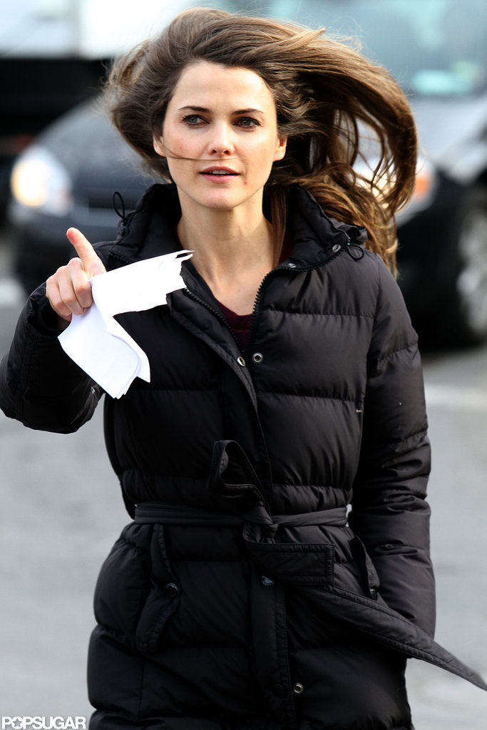 Keri Russell had her hair down on set.
