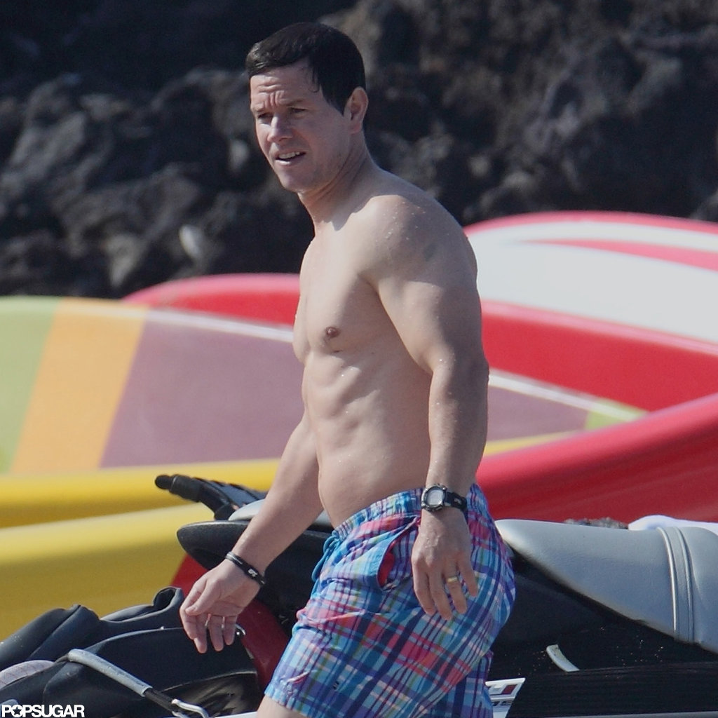 Mark Wahlberg walked the beach shirtless.