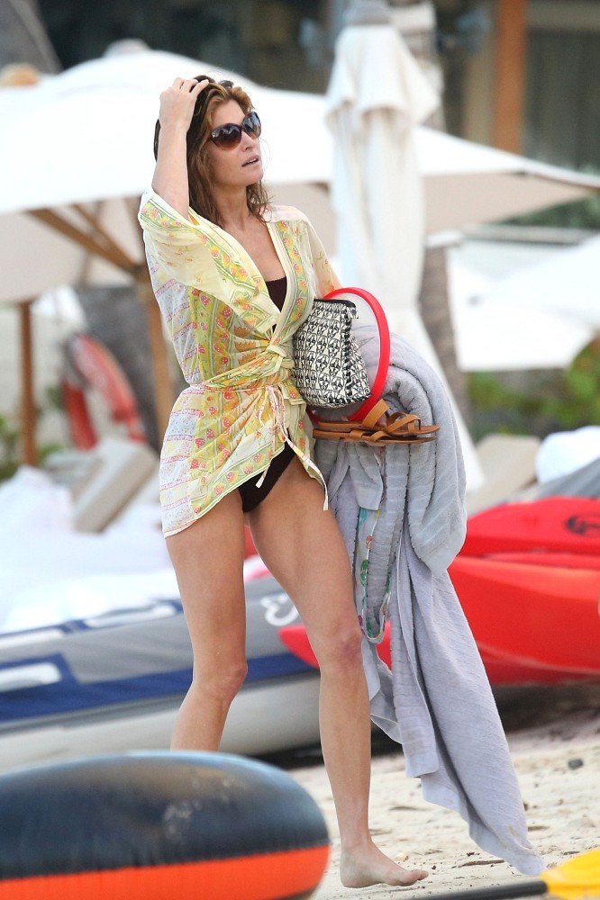 Stephanie Seymour enjoyed a day at the beach in St. Barts.