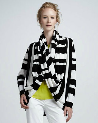 This Alice + Olivia striped wrap cardigan ($330) is superinteresting to look at. Throw it on over a little black dress to add a dose of print.