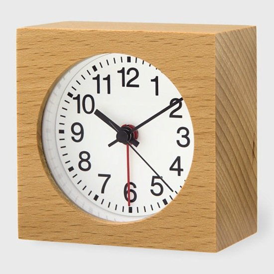 Inspired by the look of traditional street clocks in Japan, this beech wood alarm clock ($35) has a warm, utilitarian look.