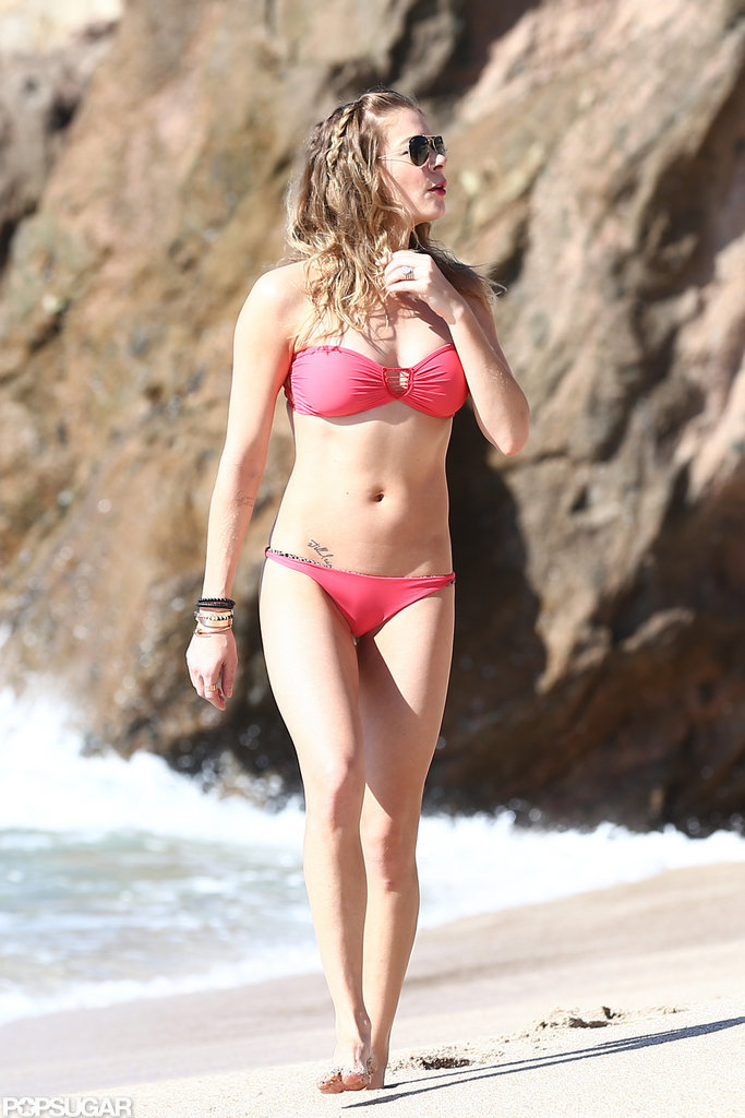 LeAnn Rimes walked on the beach in Cabo in a bikini.