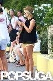 Julianne Hough wore a fedora and short shorts in St. Bart's.