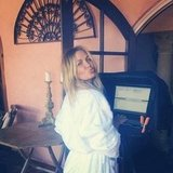 Lara Bingle can even make a fluffy white robe look cool! Source: Instagram user mslbingle