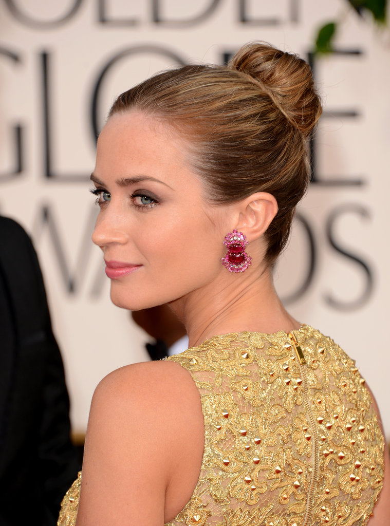 Emily Blunt beautified the red carpet with a cutout Michael Kors gown and a pulled back bun.