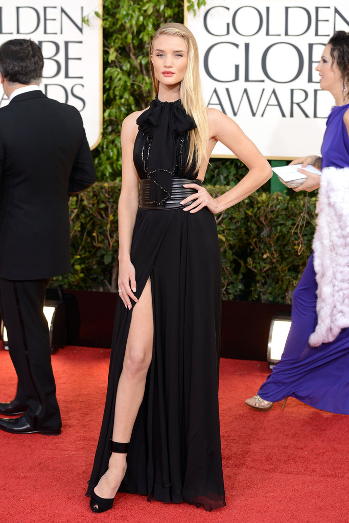 Rosie Huntington-Whiteley showed some leg in Saint Laurent.