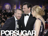Aaron Paul smiled for the camera with Jon Hamm and Jennifer Westfeldt.