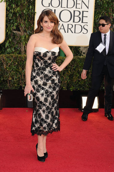 Tina Fey is glowing in a custom L'Wren Scott dress.