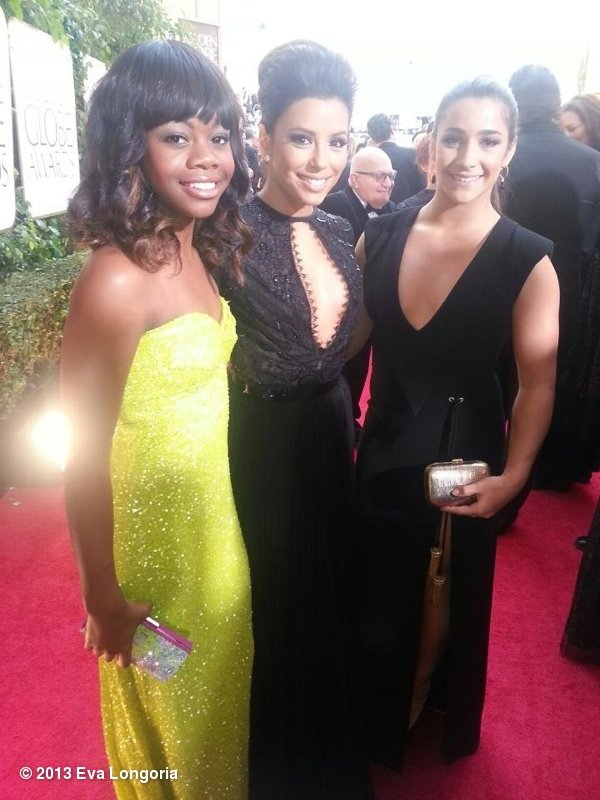 Eva Longoria posed with Olympic gymnasts Gabby Douglas and Aly Raisman at the Golden Globes. Source: Eva Longoria on WhoSay