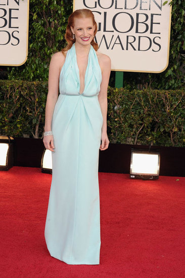 Jessica Chastain lights up the red carpet in a blue Prada gown.