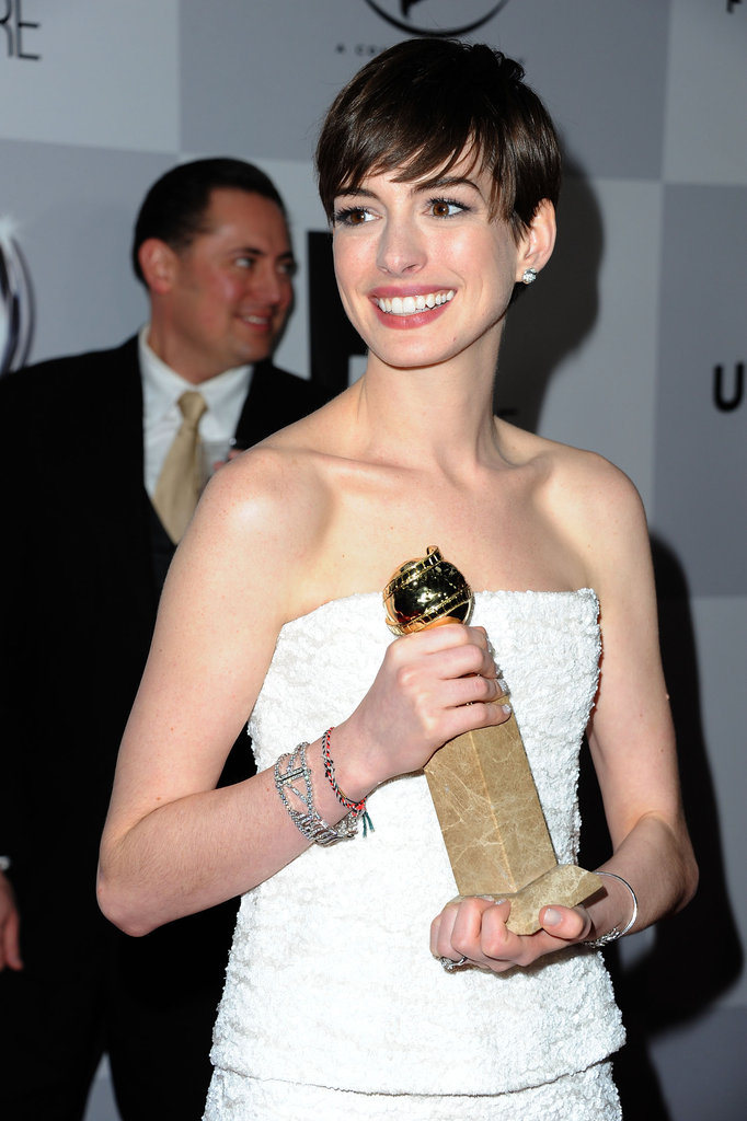 Anne Hathaway was in a happy mood after her big win.