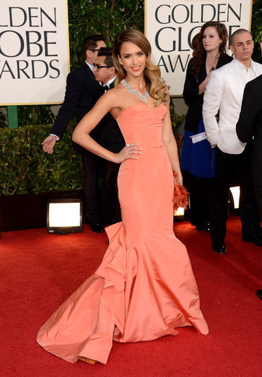 Jessica Alba brought a pop of color with her Oscar de la Renta gown.