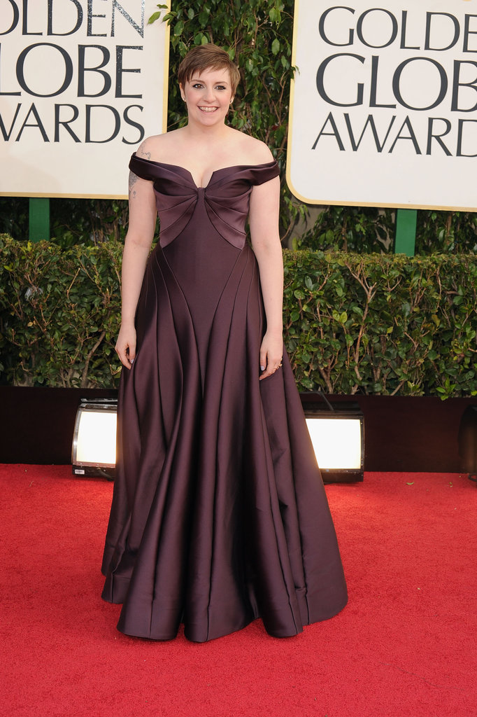 Lena Dunham went chic in an off-the-shoulder Zac Posen gown, but the real clincher came courtesy of the structural tailoring and deep plum hue.