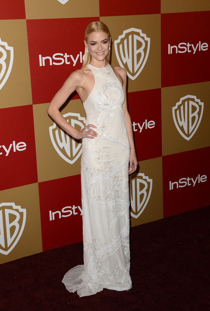 Jaime King stepped out at the InStyle party in a crisp white embroidered halter-style Emilio Pucci dress, which only emphasized her svelte figure. She kept her hair sleek and pulled back into a half ponytail, which totally worked here.