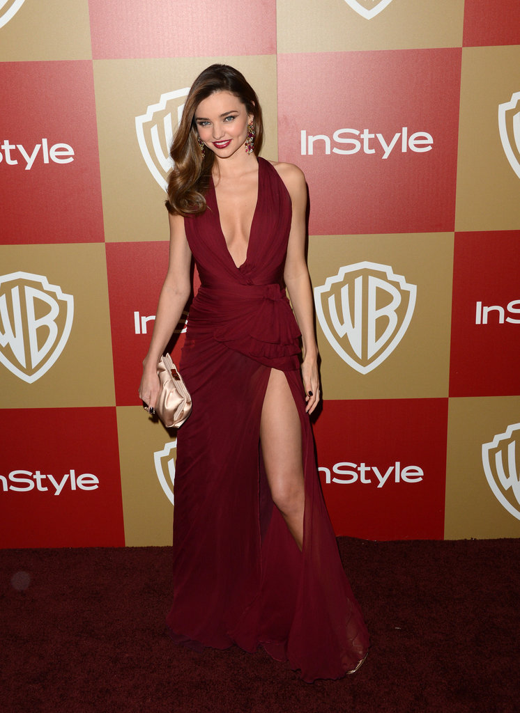 Miranda Kerr did right by this berry-hued Zuhair Murad number, and all of the sexy details (thigh-high split and deep-V front) paid off in full.