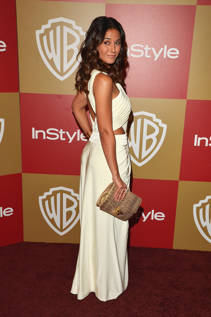Emmanuelle Chriqui turned it out, cutouts and all, in a white Tadashi Shoji creation at the InStyle party.