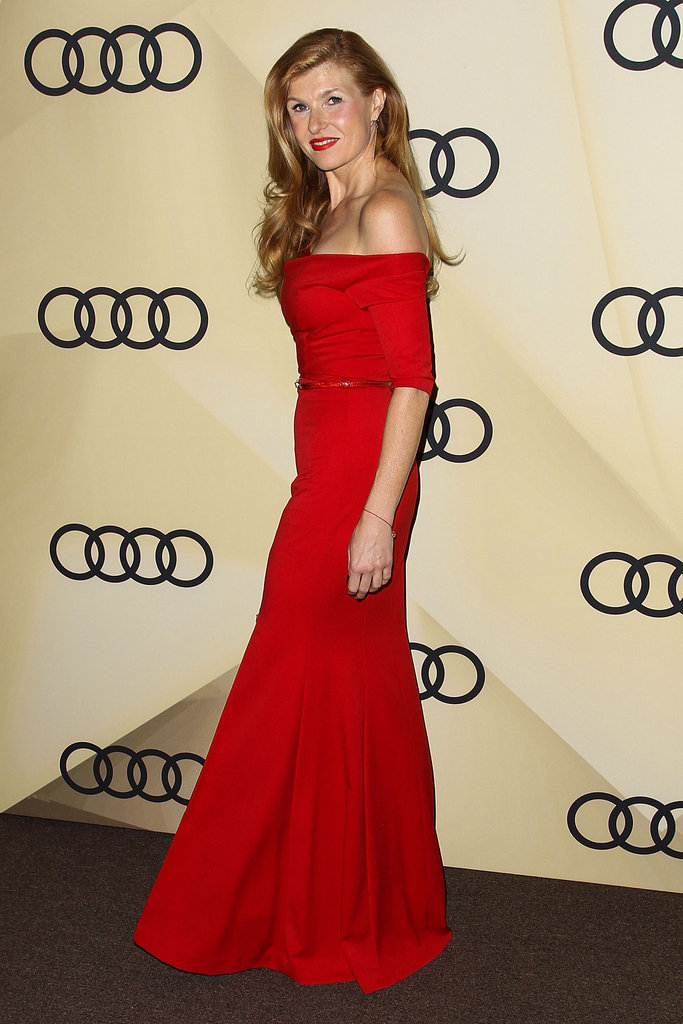 Connie Britton wore red to the party.