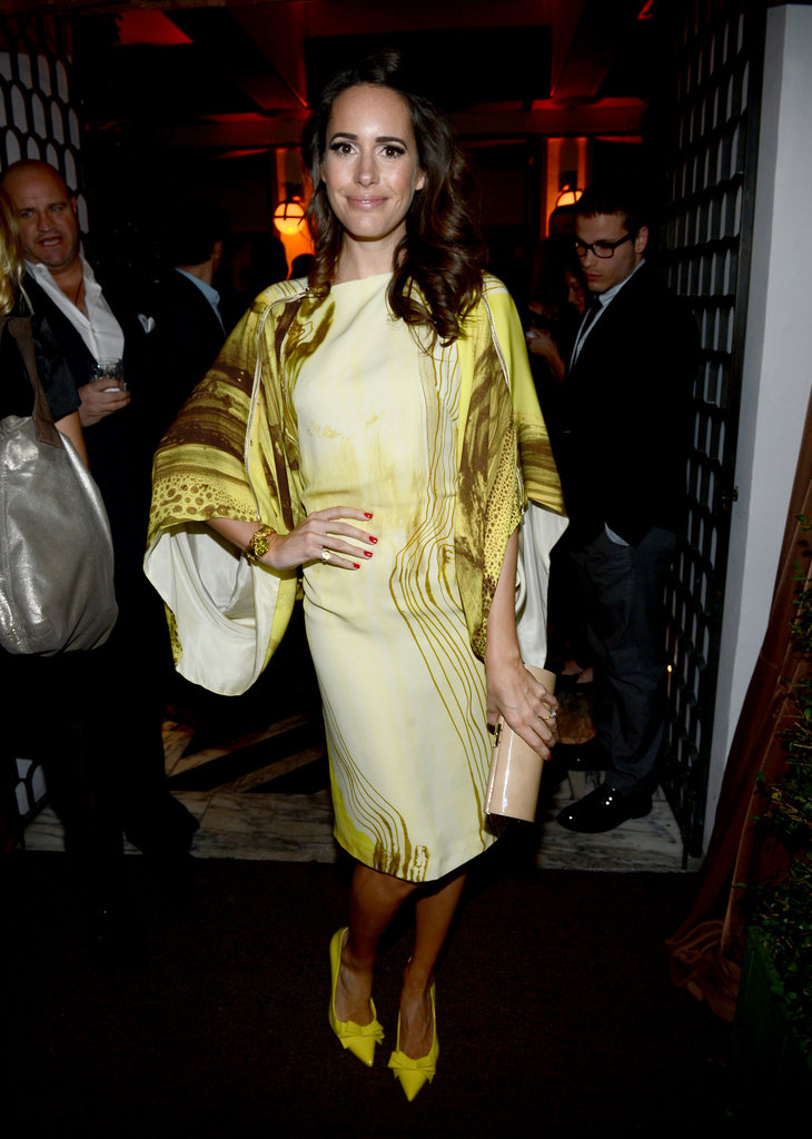 Louise Roe wore a printed dress at the Audi Golden Globes party in LA.