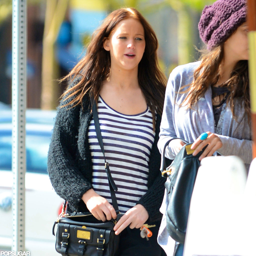 Jennifer Lawrence wore a striped shirt.
