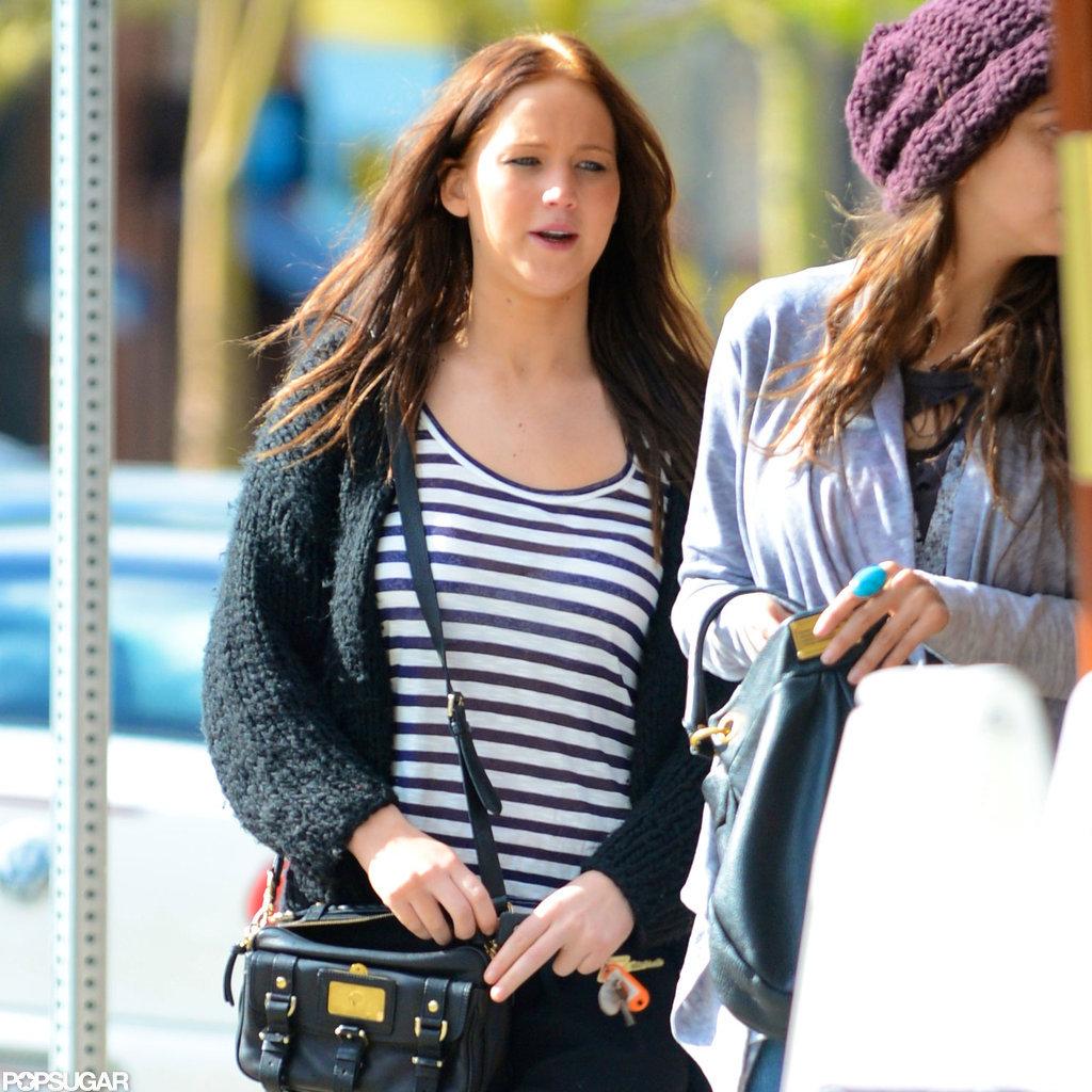 Jennifer Lawrence wore a striped shirt.