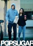 Ashton Kutcher and Mila Kunis walked to their car after grabbing coffee and bagels in LA.