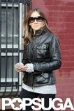 Sarah Jessica Parker wore a leather jacket.