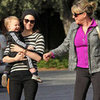 January Jones Holding Xander With Her Mom in LA