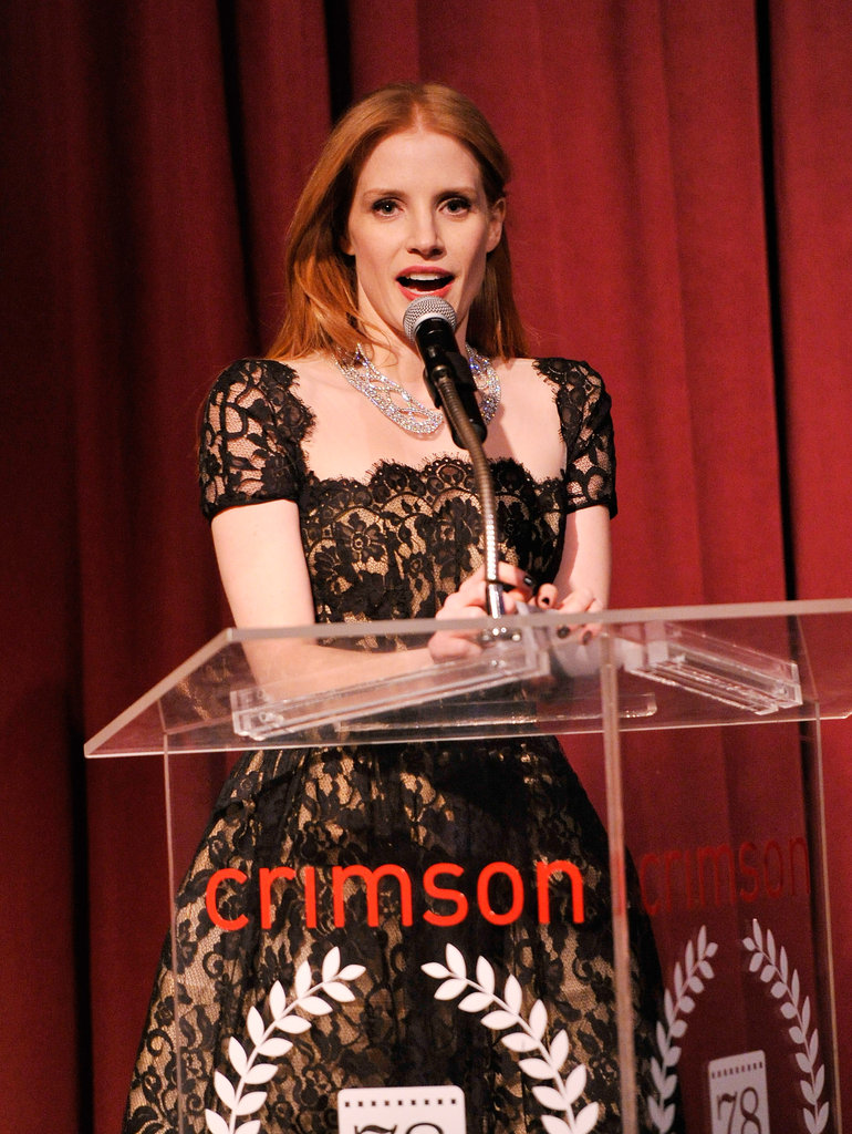 Jessica Chastain wore a diamond necklace.