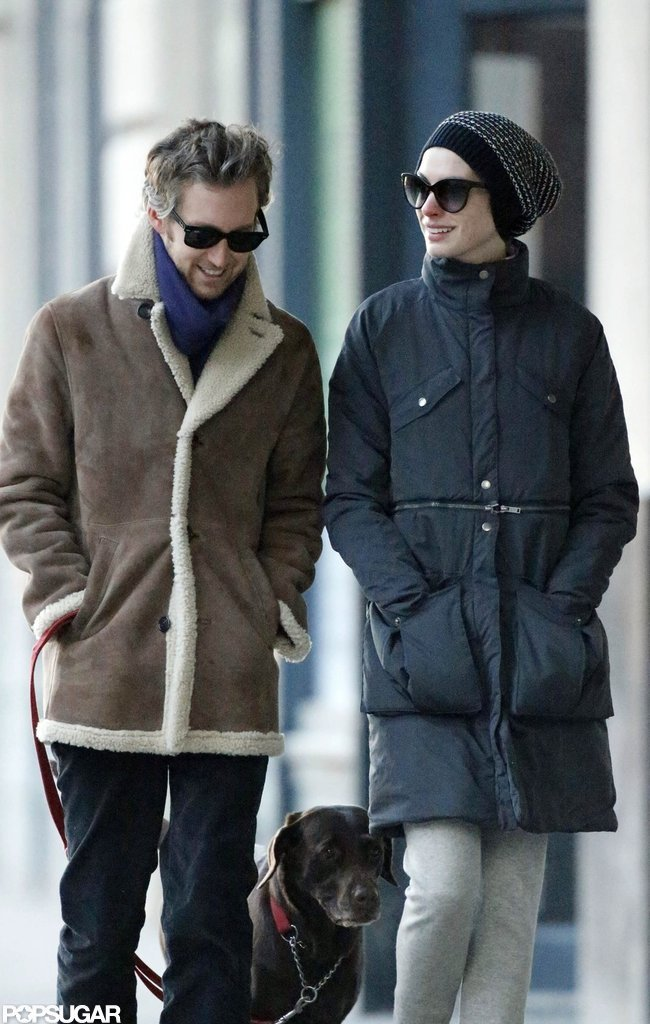 Anne Hathaway and Adam Shulman strolled sweetly together.