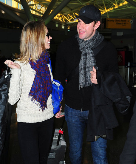 Emily Blunt laughed with John Krasinski.