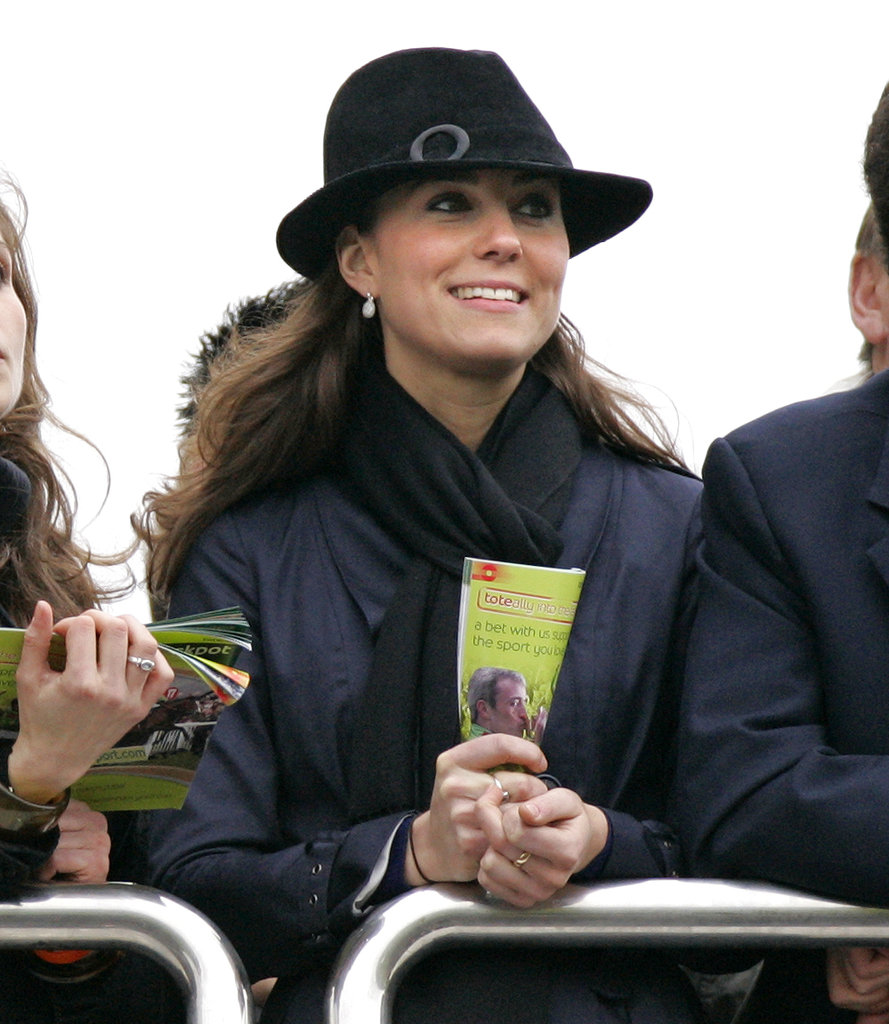 Kate Middleton cheered while watching the Gold Cup in Cheltenham, England in March 2008.