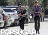 January Jones carried Xander to grab a bite to eat with her mother, Karen, in LA.