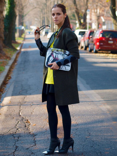 A little neon and an artsy print go a long way in this look. Source: Lookbook.nu